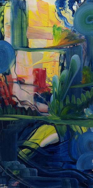 "Primary World 2 12.2012 , oil on plexiglass, 12"" x 24"""