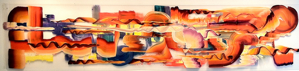"Echo Orange, Violet Wave 2.2013, oil and acrylic on mylar, 36"" x 156"""