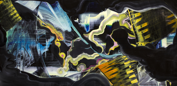 "Interfaces (Black), 12""h x 24""w x .25""d, quadriptych,oil on plexiglass"
