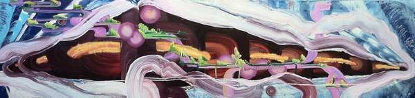 "Froth: Floating Worlds , oil on Hardwood panel, 24"" x 96"" x 3"""